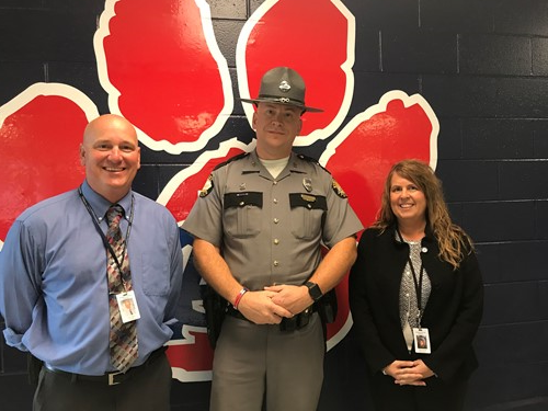 Principal Glass, Trooper Satterly and Superintendent Mitchell