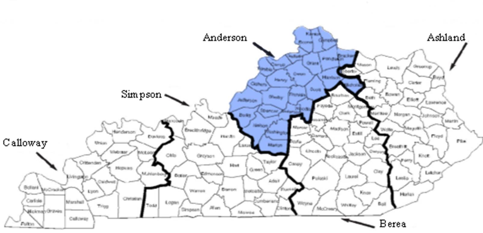 Map of the 5 RTC Regions with Anderson's Region Highlighted in Blue